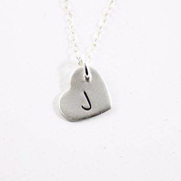 Initial Heart Charm - Sterling Silver Charm / Necklace