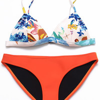 Floral Print Bralette Triangle Bikini Top X Orange Bikini Bottom