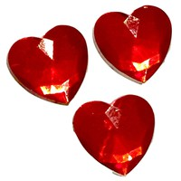 Red heart acrylic rhinestone resin 12x12mm / 1-10 pieces