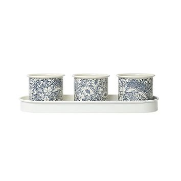 Herb Pots with Tray in Floral Design