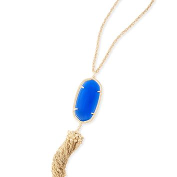 Kendra Scott Rayne Cobalt Cat's Eye Gold Necklace with Tassel