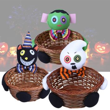 Candy Holloween Bamboo Storage Basket Smile Bamboo Pumpkin Bucket Basket Halloween Party Decor Fruit Bowl Bins Container