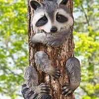 Cute Animal Tree Hugger Raccoon Yard Garden Art Outdoor Country Lodge Home Decor