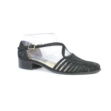 80s 90s Black Nubuck Leather Sandals Criss Cross Cut Out Flats Vintage Minimal Sandals Closed Toe Strappy Sandals Pointy Toe Flats Size 8