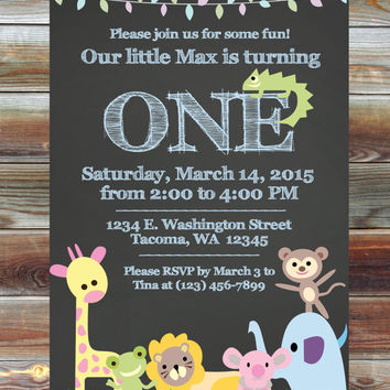 Printable Custom Chalkboard Jungle First Birthday Invitation - Party Animal Theme Boy Birthday Invite - Jungle Theme Safari Birthday Party