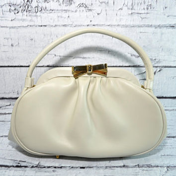 Lovely Vintage Granada Purse - USA - Off White with Gold Bow