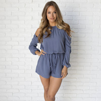 Well Balanced Open Shoulder Romper In Blue
