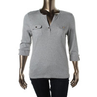 Charter Club Womens Knit Heathered Pullover Top