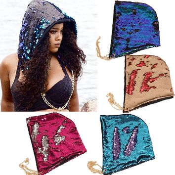 Fashion Mermaid Hat Magical Reversible Sequin Cap Hood Dress Up Color Changing Hat