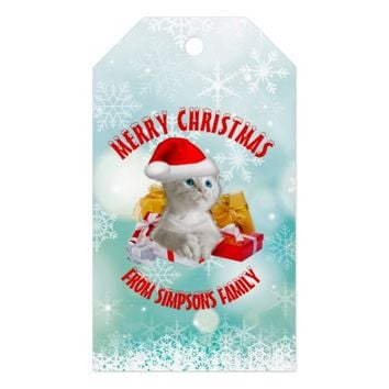 Christmas Funny Cute Kitty Cat With Cool Santa Hat Gift Tags