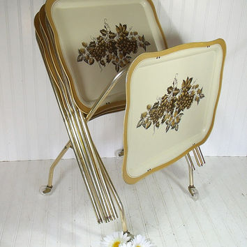 Vintage Harvest Gold Trim Metal Folding Tray Tables Set of 4 with Caddy on Wheels - Retro Litho Grapes & Leaves Design ToleWare Collection