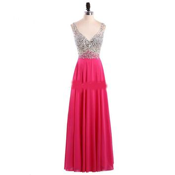 V-Neck Evening Dress Long Party Gowns Formal Pageant Celebrity Long Dress