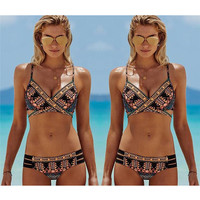 Boho Print Back Tied Bikini Set