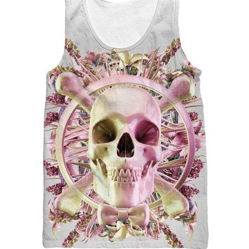 Flower Skull Tank Top skull and cross bones with pretty ribbon