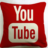 youtube icon social media  pillow case === custom pillow one and two side size 16x16,18x18,20x20