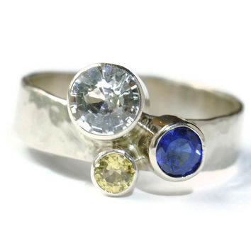 Three Sapphires Ring in 14k Gold by DalkullanJewelry on Etsy