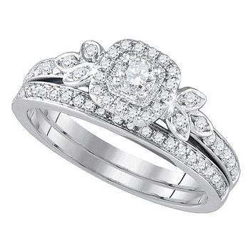 14kt White Gold Women's Round Diamond Floral Halo Bridal Wedding Engagement Ring Band Set 1/2 Cttw - FREE Shipping (US/CAN)