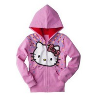 Hello Kitty Infant Toddler Girls' Hoodie - Light Pink/Dark Pink