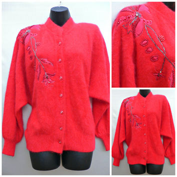 1980's Sweater - Red Fuzzy Angora - Sequins, Beads, Rhinestones - Shoulderpads - Puffy Sleeves - Cardigan Style - Women's Size Medium (M)