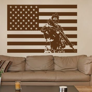 ik733 Wall Decal Sticker Army soldier military weapons American flag vest room