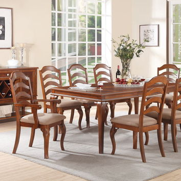 Poundex F2190-1397-1398 9 pc hamptons bay collection oak finish wood dining table set with curved ladder back chairs