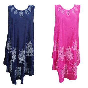 Mogul Interior 2pc Womens Blue,Pink Tank Dress Umbrella Printed Sleeveless CoverupSundress XL