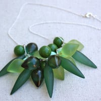 Sea Glass Treasures Bauble Necklace - lucite beaded chain- statement necklace