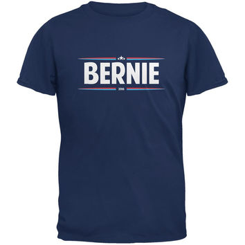 Election 2016 - Bernie Thin Stripes Metro Blue Adult T-Shirt
