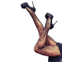 Regular Size Women Sexy Stockings Hollow Tights Lace Pantyhose Fishnet Stockings High Elastic Vintage Tights for women