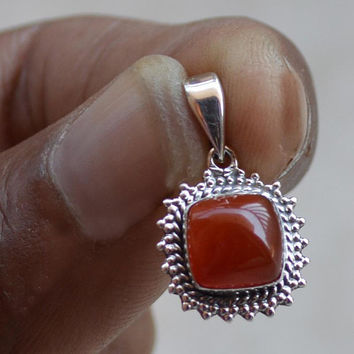 Red Onyx Pendant Handmade Jewelry simple Genuine Gemstone Necklace 925Sterling Silver Birthstone Stackable Silver Stack Pendant/Necklace NEW