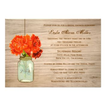 Country Rustic Mason Jar Flowers  Bridal Shower 5x7 Paper Invitation Card