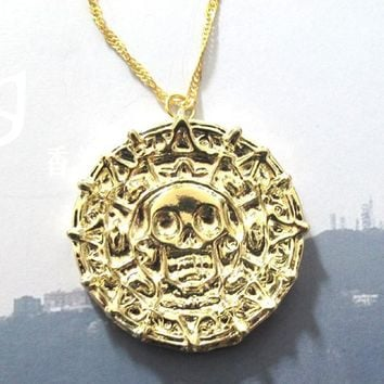 Pendant Pirates of the Caribbean Aztec Skull Necklace Man Collares Vintage Jewelry Men Vintage Necklace Piratas Del Caribe