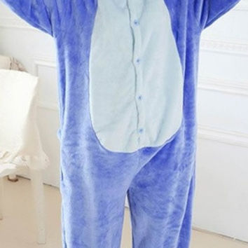 New 2015 Blue Stitch Cosplay Costume Animal Suits Onesuit Pyjamas Pajamas Sleepwear Party Dress One Piece = 1958304196
