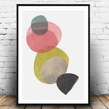 Watercolor abstract, minimalist print, Watercolor wall art, Minimalist poster, Mid century modern, Pastel colors, Wall art, Abstract print