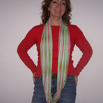 Super Soft Christmas Fun Stripes Flannel Infinity Scarf. Christmas Scarf single loop, double loop or tie.  Red, Greens and White Stripes