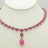 Vintage Art Deco Open Back Pink Crystal Dropper Choker Necklace