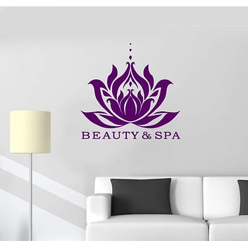 Vinyl Wall Decal Beauty Salon Spa Lotus Relaxing Massage Room Interior Stickers Mural (ig5808)