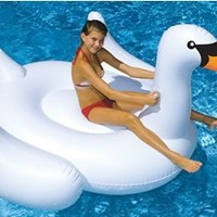 Swimline 90621 Swimming Pool Kids Giant Rideable Swan Inflatable Float Toy 75""