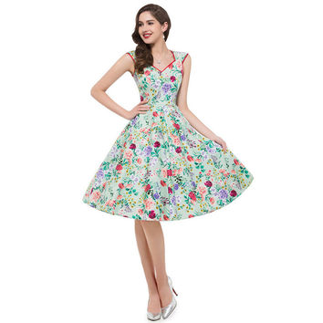 Audrey Hepburn robe Rockabilly clothing women Summer style 40s 50s 60s Vintage dresses jurken Swing floral print Pin up Vestidos