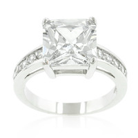 Lindsay Princess Cut Raised Pave Engagement Ring | 5.5ct