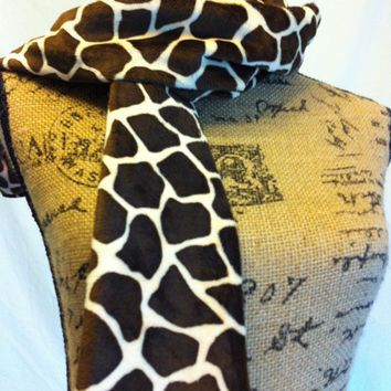 Adult Scarf in Chocolate Brown and Tan Minky--Giraffe Skin Pattern