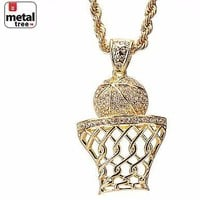 "Jewelry Kay style Men's Iced Out Basketball Rim Hoop Sign Pendant 30"" Rope Chain Set HC 5046 G"