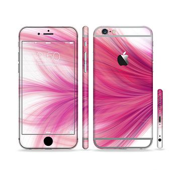 The Abstract Pink Flowing Feather Sectioned Skin Series for the Apple iPhone 6 Plus