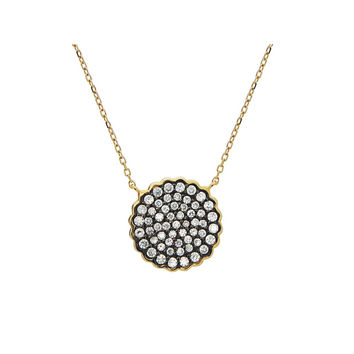 "Silver Gold Plated 16mm Diam Pave CZ Disc Black Rhodium Pendant Necklace 15.5""+1.5"""