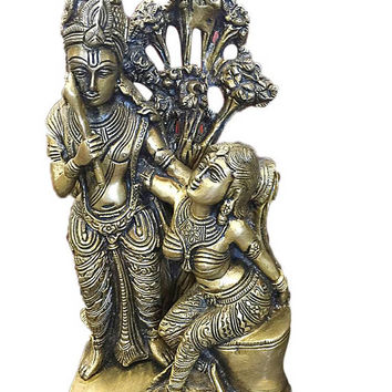 Yoga Studio Indian Vintage Divine Love Radha Krishna Brass Sculpture Handmade Zen Hindu Altar Home Interior Design