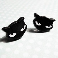 Little Black Cat Stud Earrings - Charm - Kawaii - Cute - Halloween | CsCharms - Jewelry on ArtFire