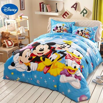 Blue Disney Cartoon Mickey Minnie Mouse Donald Duck Goofy Bedding Sets for Childrens Bedroom Decor Cotton Bed covers Twin Full