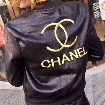 CHANEL Embroidery Leather Long Sleeve Cardigan Jacket Coat F