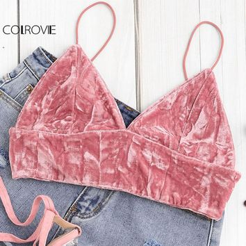 COLROVIE Pink Crushed Velvet Crop Cami Top Women Sexy Spaghetti Strap Plain Bras Vest 2018 Summer Slim Beach Boho Top Vest