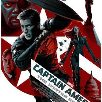 Captain America Winter Soldier Movie poster Metal Sign Wall Art 8in x 12in